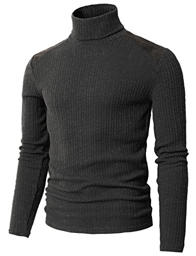 H2H Men's Casual Turtleneck Shirt Pullover Slim Fit Long Sleeve Sweater Charcoal US L/Asia XL (CMTTL099)