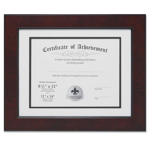 Lawrence Frames Dual Use Faux Burl 11 by 14-Inch Certificate Picture Frame with Double Bevel Cut Matting for 8.5 by 11-Inch Document, Mahogany