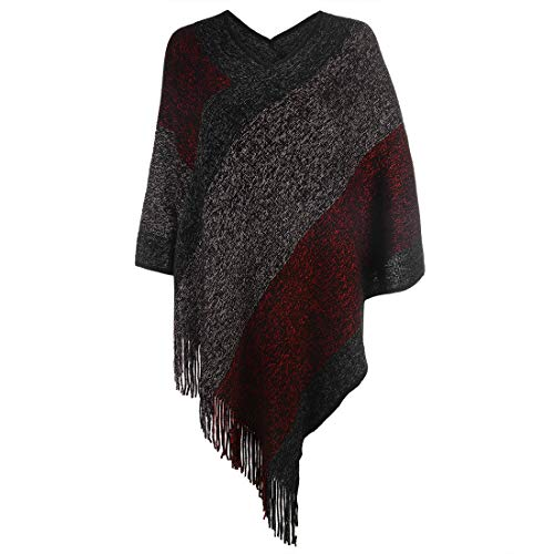Women's Elegant Knitted Shawl Poncho with Fringed V-Neck Striped Sweater Pullover Cape Gifts for Mom