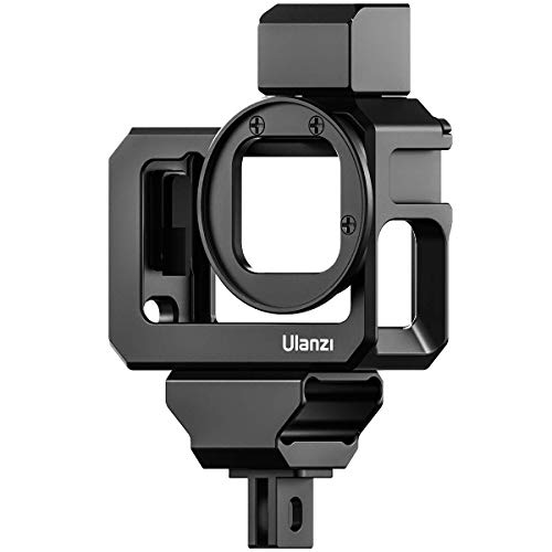 ULANZI G9-5 Aluminum Housing Cage for Gopro Hero 9 Black, 2 Cold Shoe Mount Mic Light Stand Storage Case for Gopro Microphone Adapter Vlog Accessory Compatible with Tripod Selfie Stick