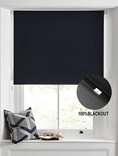 BERYHOME Blinds for Windows, Blackout Room Darkening Roller Shades/Blinds with Chain Cord, 20 Beautiful Colors Available, Cristal(W25''xH68'', Black)