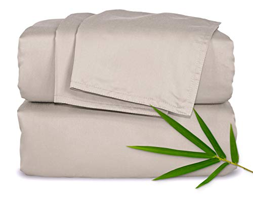 Pure Bamboo Sheets King Size Bed Sheets 4 Piece Set, 100% Organic Bamboo, Luxuriously Soft & Cooling, Double Stitching, 16' Deep Pockets, 1 Fitted, 1 Flat, 2 Pillowcases (King, Sand)