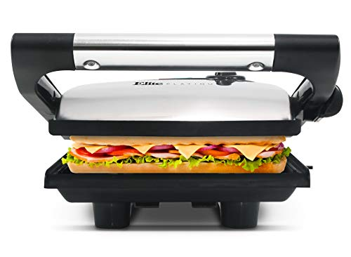 Elite Platinum by Maxi-Matic Electric Panini Press & Contact, Gourmet Sandwich Maker, Indoor Grill with Floating Hinge, Removable Grease Tray, 1400W, 9.5' x 8.4', Stainless Steel