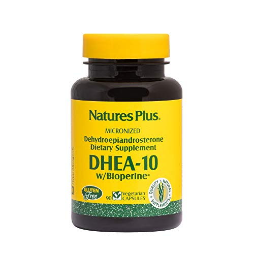 NaturesPlus DHEA-10 with Bioperine - 10 mg, 90 Vegetarian Capsules - Anti-Aging Hormone Support, Mood and Energy Booster, Anti-Inflammatory - Gluten-Free - 90 Servings