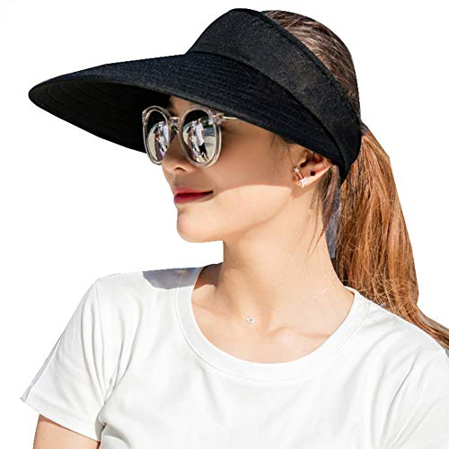 Sun Visor Hats Women Large Brim Summer UV Protection Beach Cap Black