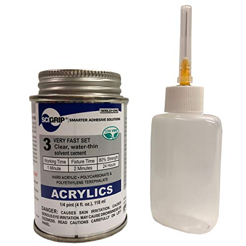 IPS Weld-On 3 Acrylic Plastic Cement with Weld-On Applicator Bottle with Needle, 4 oz Can, Clear
