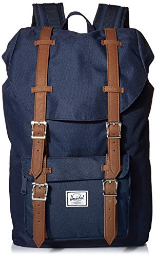 Herschel Little America Laptop Backpack, Navy/Tan Synthetic Leather, Classic 25.0L