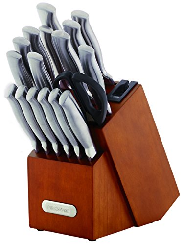 Farberware 18-Piece Forged Stainless Steel Knife Set with Built-in Edgekeeper Knife Sharpener