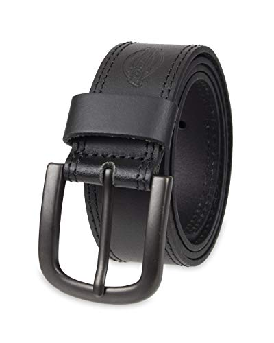 Dickies Men's Big and Tall 100% Leather Jeans Belt with Stitch Design and Prong Buckle, black, 56 (Waist: 54)