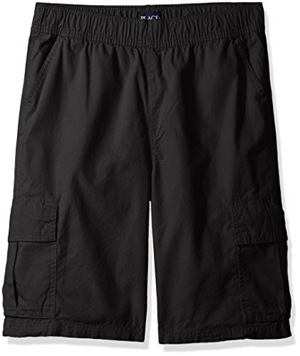 The Children's Place Boys' Uniform Pull On Cargo Shorts, Washed Blk, 14