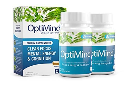OptiMind Nootropics Premium Brain Booster Supplement | Enhance Your Focus and Energy | Caffeine | L Tyrosine | Taurine | Vitamins D & B 12 | As Seen on Netflix - 2 Bottles, 32 Count Each