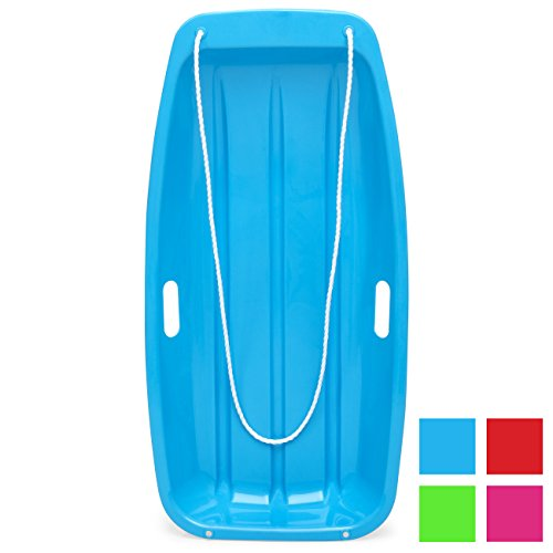 Best Choice Products 35in Kids Plastic Toboggan Snow Sled w/Pull Rope, 2 Handles, Ice Blue