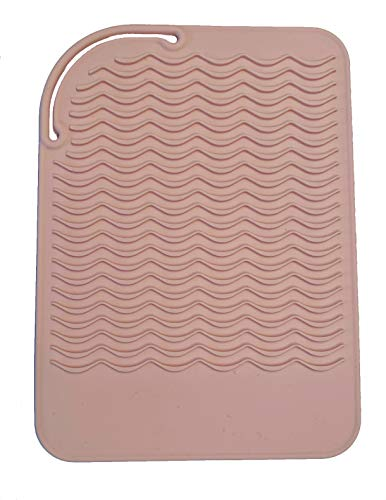 Heat Resistant Silicone Travel Mat for Curling Irons, Flat Irons, Hot Tools - 9'x6' - for Small or Large Vanities - Blush Pink