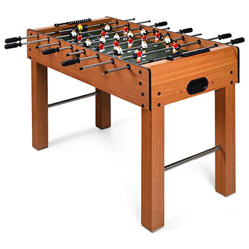 Goplus 48' Foosball Table, Easy-Assemble Soccer Game Table w/ 2 Balls, Competition Sized Foosball Games for Indoor Game Rooms, Bars, Parties, Family Night (Brown)