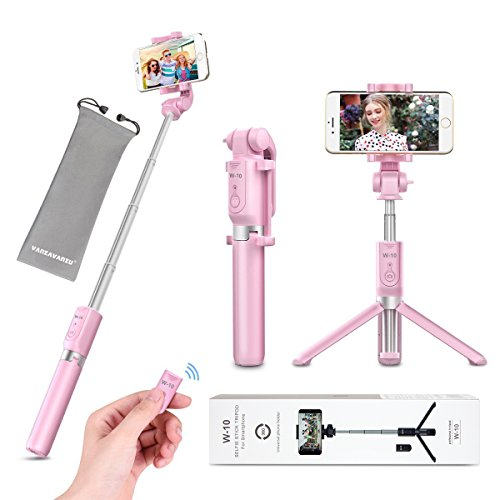 Selfie Stick - VANZAVANZU Extendable Selfie Stick Phone Tripod Monopod Detachable Bluetooth Wireless Remote Shutter for iPhone x xr xs max 6 6s 7 8 Plus Samsung Galaxy s8 s9 s10 j7 Note 9 8 - Pink