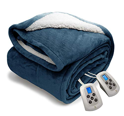 MARQUESS Queen Electric Heated Blanket MicroPlush Sherpa and Reversible Flannel Washable Comfortable with 10 Heat Settings/Safety 10 Hours Auto-Off Controller with Fast-Heating (84 x 90'' Navy Blue)