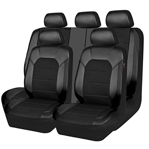 CAR PASS Leather and Mesh Universal Fit Car Seat Covers, for Sedans,Trucks,Suvs,Airbag Compatible,Zipper Design and Reserved Opening Holes for headrest(11PC, Black and Black)