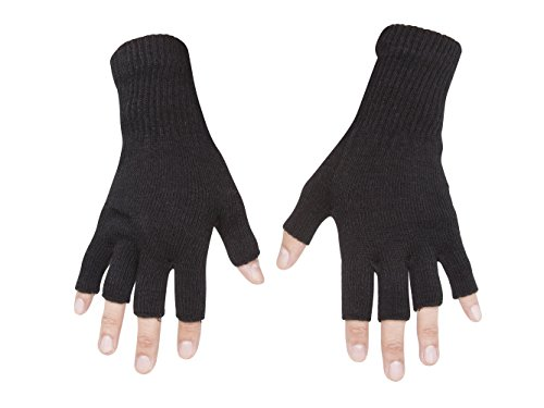 Gravity Threads Unisex Warm Half Finger Stretchy Knit Fingerless Gloves, Black