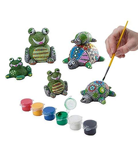 DIY Paint a Rock Pet Kit - Set of 6 (3 Frogs and 3 Turtles) - Children's Arts and Crafts - Includes Weather Resistant Paints and Paintbrush - Indoor Bedroom or Outdoor Yard and Garden Display - 1.25'' - 5.75'' H
