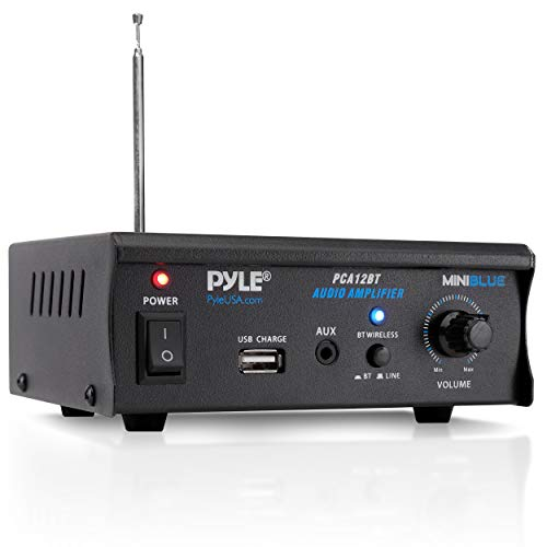 Pyle PCA12BT.5 2x25 Watt Mini Power Amplifier-Portable Wireless Bluetooth Mini Home Stereo Audio Speaker Sound Stereo Receiver System for CD, MP3, iPhone Via AUX, USB, for Amplified Subwoofer Speakers