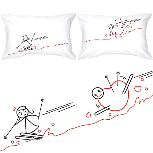 BOLDLOFT Fallen for You His and Hers Couple Pillowcases- Couples Gifts for Him and Her, Ski Lover Gifts, Perfect Christmas Anniversary Valentines Wedding Gifts for Boyfriend, Girlfriend, Husband, Wife