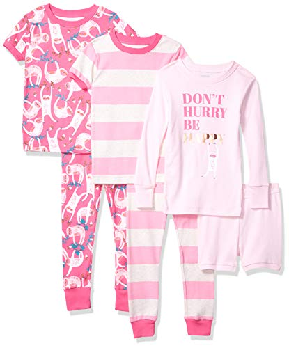 Spotted Zebra Girls' Infant Snug-Fit Cotton Pajamas Sleepwear Sets, 6-Piece Happy Sloth, 12 Months