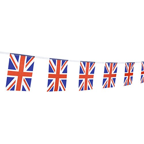 TSMD 100 Feet United Kingdom UK Flag 76Pcs Indoor/Outdoor British Union Jack National Country Flags,Party Decorations Supplies for Grand Opening,Sports Clubs,International Festival,(8.2' x 5.5'')