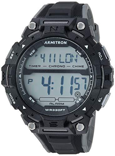 Armitron Sport Men's Grey Accented Digital Chronograph Black Resin Strap Watch, 40/8455BLK