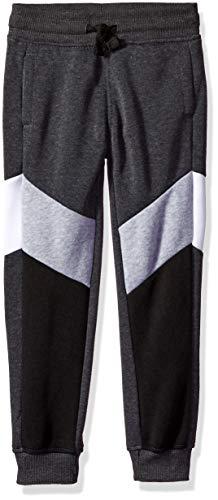 Southpole - Kids Boys' Little Active Basic Jogger Pants, Heather Charchoal Color Block Fleece, Medium