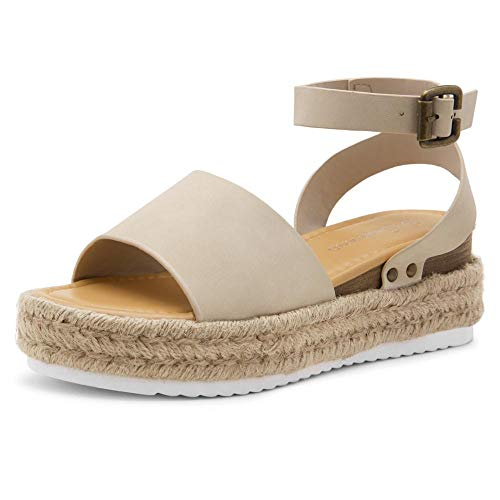 Shoe Land Legossa Womens Open Toe Ankle Strap Platform Shoes Casual Espadrilles Trim Flatform Studded Wedge Sandals 1825/Beige 8.5