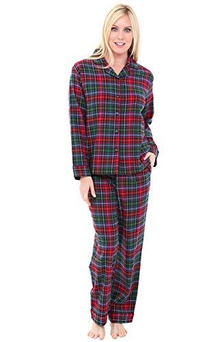 Alexander Del Rossa Women's Warm Flannel Pajama Set, Long Button Down Cotton Pjs, Large Red Green Blue Even Plaid (A0509V69LG)