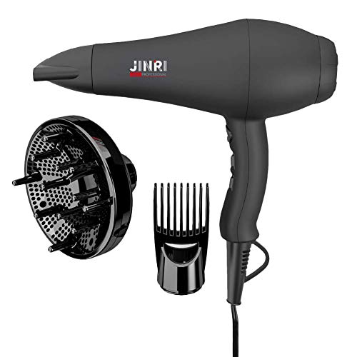 JINRI Hair Dryer Infrared Sterilization Professional Salon Ionic Sterilization Hair Dryer With Diffuser & Concentrator Attachments for Curly Hair, Black