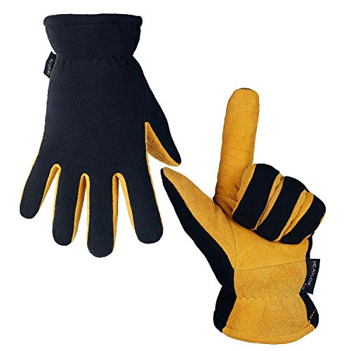 Winter Work Gloves Cold Proof Deerskin Suede Leather Thermal Glove Warm Polar Fleece Heatlok Insulated Lining - Hands Warmer in Cold Weather for Women and Men (Tan-Black,M)