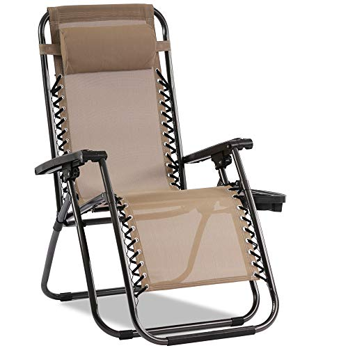 Zero Gravity Chair Patio Chair Lounge Chair Chaise Recliner Outdoor Folding Adjustable Heavy Duty Zero Gravity Chair with Cup Holder and Pillows for Patio, Pool, Beach, Lawn, Deck, Yard - Tan