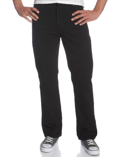 Lee Men's Regular Fit Straight Leg Jean, Double Black, 38W x 29L