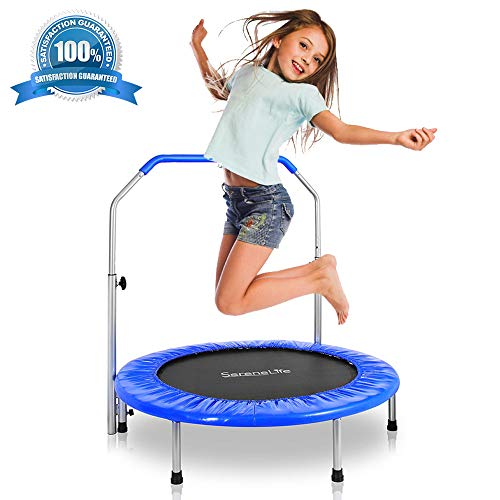 SereneLife Portable & Foldable Trampoline - 36' In-Home Mini Rebounder, Fitness Body Exercise - Updated Version - SLSPT365,Blue