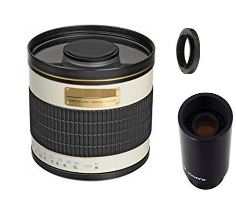 500mm f/6.3 Manual Focus Telephoto Mirror Lens + 2X Teleconverter = 1000mm for Canon EOS Rebel T6s, T6i, SL1, T5, T5i, T4i, 70D, 60D, 60Da, 7D, 6D, 5D, 5DS R, 1D Digital SLR Camera