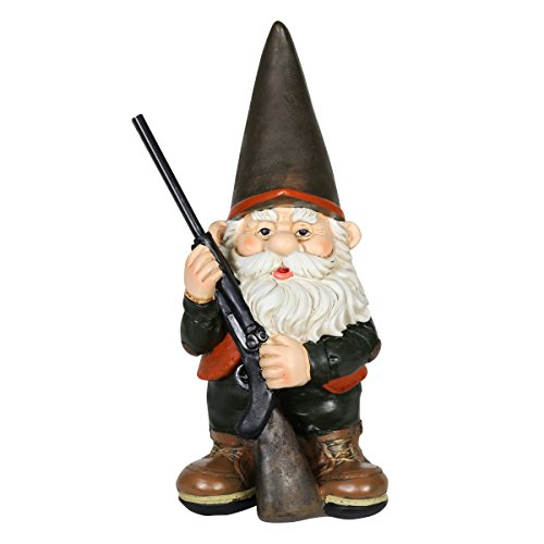 Exhart Good Time Gnome Hunting Harry - Hunting Gnome Garden Statue – Outdoorsman Hunter Gnome w/Black Rifle, Resin Hunter Statue for Garden, Man Cave, Display Shelf & Bedroom, 7' L x 6' W x 13' H