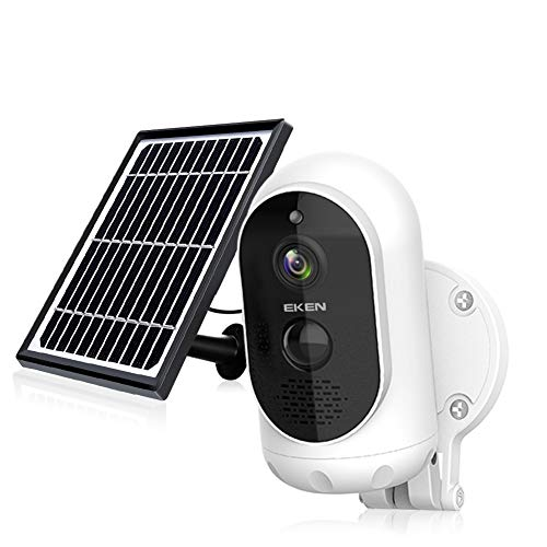 EKEN Outdoor Security Camera Wireless, Solar Powered Security Camera, 1080P Video, Night Vision Motion Detection, 2-Way Talk, APP Remote, IP65 Waterproof, 32GB SD Card Included, No Monthly Fee