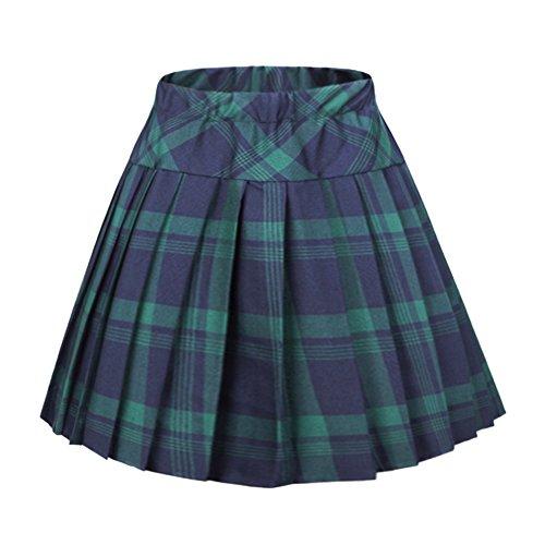 Urban CoCo Women's Elastic Waist Tartan Pleated School Skirt (XX-Large, Series 1 Green)