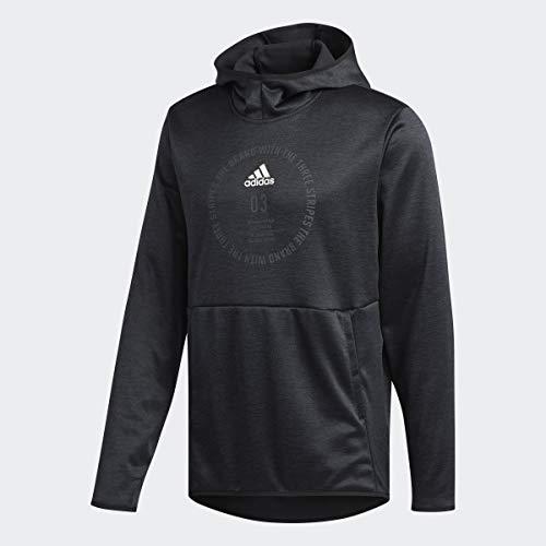 adidas Men's Team Issue Badge of Sport Hoodie, Black/Heather/White, Large