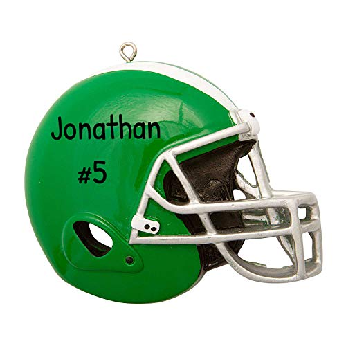 Personalized Green Football Helmet Christmas Tree Ornament 2020 - Profession Team Athlete Active Run Coach Hobby College Score Grand-Son Grand-Kid Year Dated Engraved - Free Customization