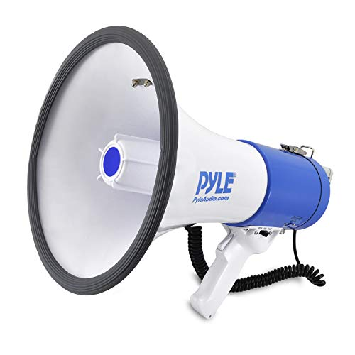 Portable Megaphone Speaker PA Bullhorn - Built-in Siren, 50W Adjustable Volume Control in 1200 Yard Range, Ideal for Any Outdoor Sports, Cheerleading Fans and Coaches or for Safety Drills - Pyle PMP50