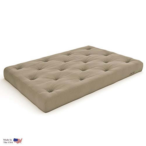Nirvana Futons Extra Thick Premium 10-Inch Queen Futon Mattress, Khaki Twill - Made in USA