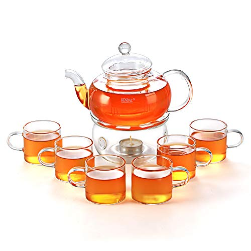 27 oz Glass Filtering Tea Maker Teapot with a Warmer and 6 Tea Cups CJ-BS808A