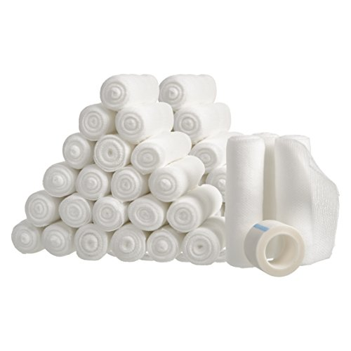 Gauze Bandage Rolls w/Tape 4-in Wide Stretch Bandage Roll - 4yds Rolled Gauze Wrap - Breathable Gauze Bandage Wrap - White Gauze Rolls - Wrap Gauze Bandages (48)
