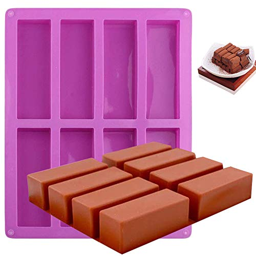 ManYee Chocolate Candy Molds Silicone Shapes Hard Candy Mold 8 Cavity, Bar Molds Silicone Protein Bars Molds Energy Bars Maker for Loaf Muffin Brownie Pudding Soap
