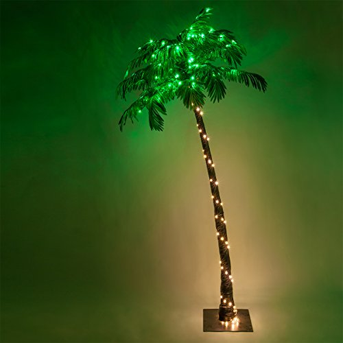 Kringle Traditions 7-Ft 10-Function LED Lighted Palm Tree - Pre-Lit Artificial Palm Tree Decor - Remoted Controlled with Timer