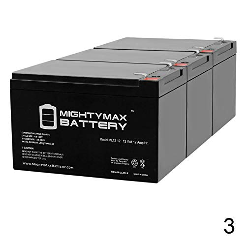 Mighty Max Battery ML12-12 - 12V 12AH F2 SLA AGM DEEP-Cycle Rechargeable Battery - 3 Pack Brand Product