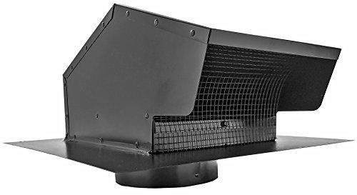 Builder's Best 084633 Galvanized Steel Roof Vent Cap with Removable Screen & Damper, 6' Diameter Collar, Black